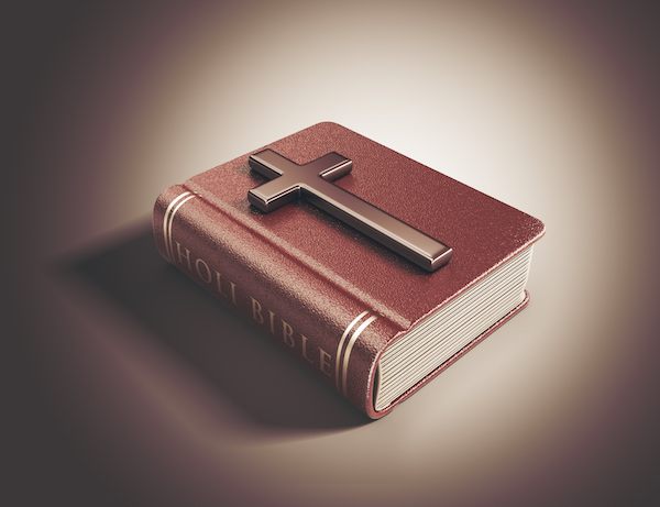Holy Bible book. Catholicism concept. 3D Illustration