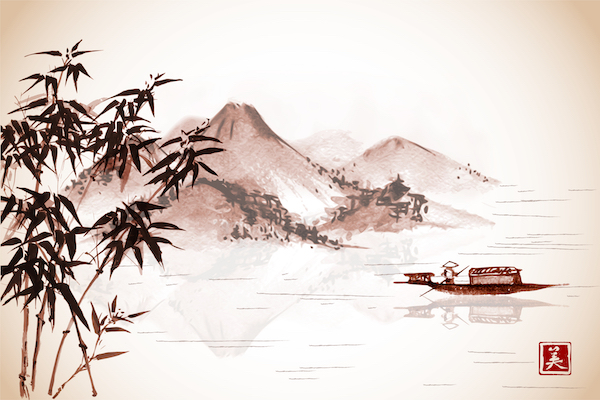 Fishing boat and island with mountains on vintage background. Traditional oriental ink painting sumi-e, u-sin, go-hua. Contains hieroglyphs - eternity, freedom, happiness, beauty