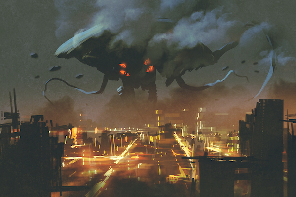 sci-fi scene,Alien monster invading night cityillustation paining